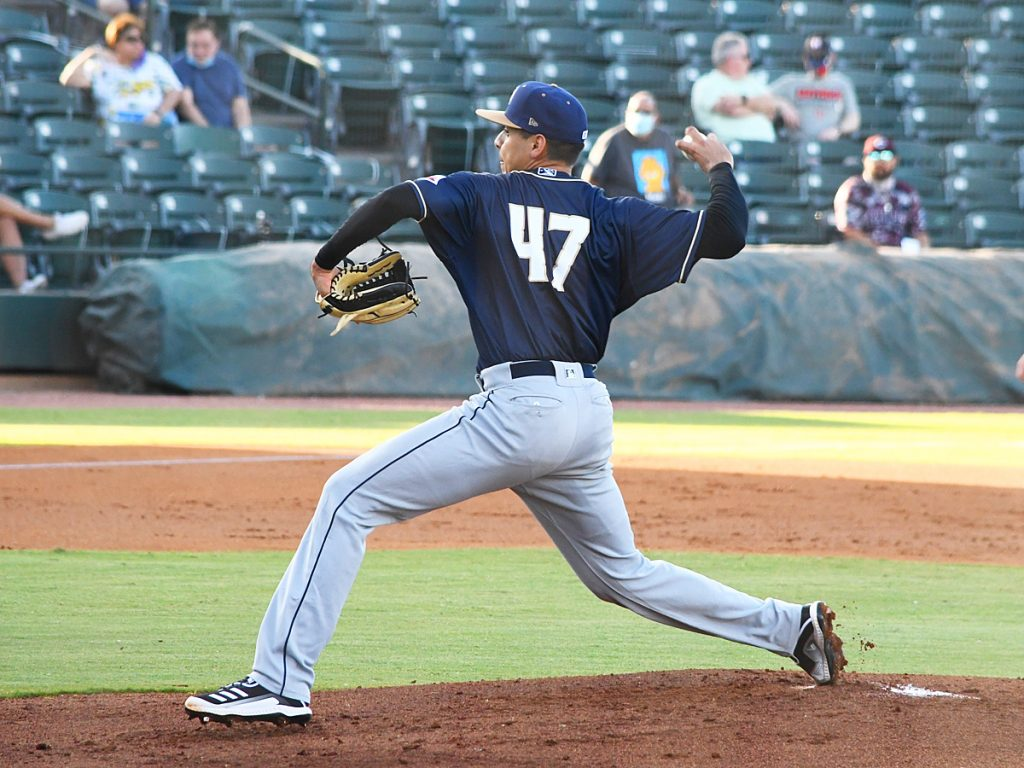 Adrian Martinez pitching for the San Antonio Missions against the Frisco RoughRiders on May 22, 2021. - photo by Joe Alexander