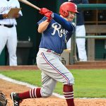 The Texas Rangers' Brock Holt playing for the Frisco Rough Riders against the San Antonio Missions on Wednesday, May 19, 2021, at Wolff Stadium. - photo by Joe Alexander