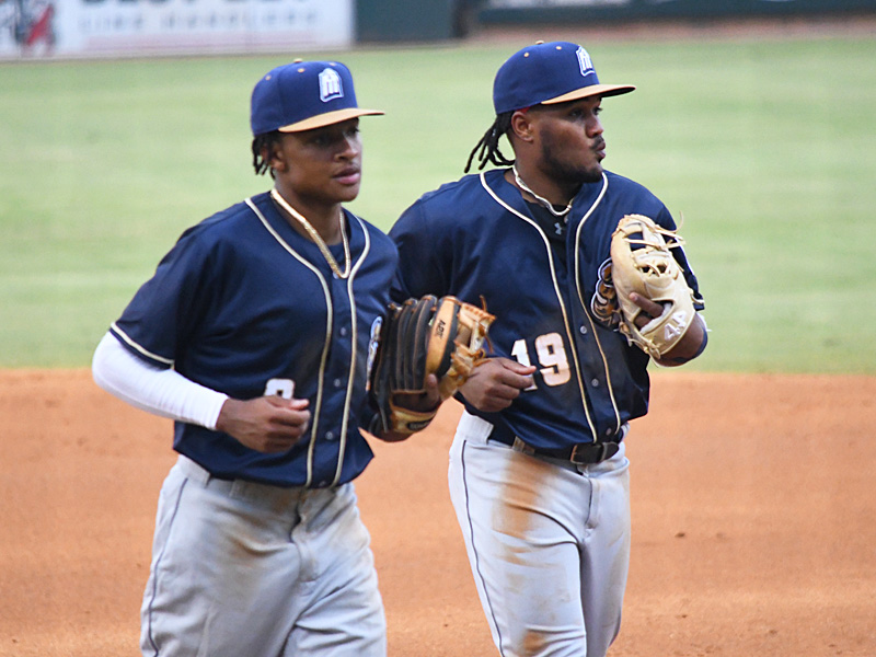 San Antonio Missions infielders and San Diego Padres prospects CJ Abrams (2) and Eguy Rosario (19) at the Missions' season opener Tuesday, May 4, 2021, at Whataburger Field in Corpus Christi. - photo by Joe Alexander