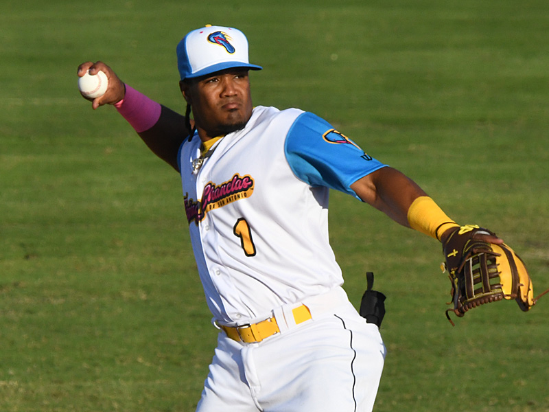 Eguy Rosario playing in a Missions' Flying Chanclas uniform against Frisco on May 20 at Wolff Stadium. - photo by Joe Alexander