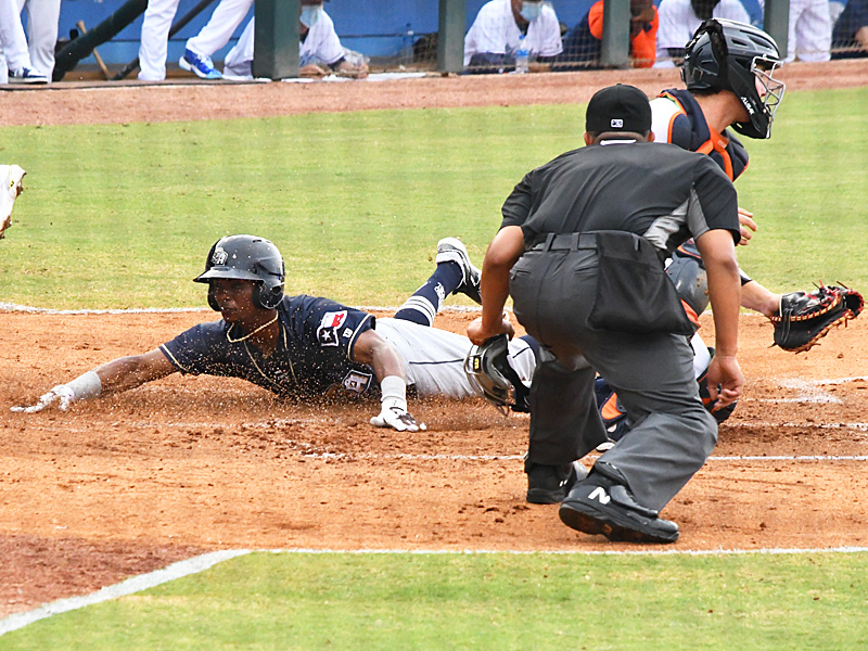 Esteury Ruiz playing for the San Antonio Missions in the 2021 season opener on May 4 in Corpus Christi. - photo by Joe Alexander