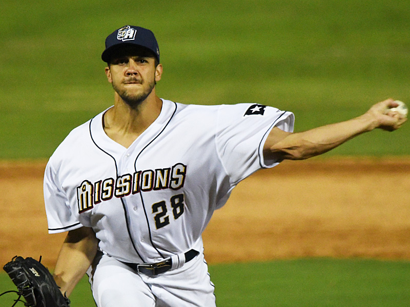 James Reeves pitching for the San Antonio Missions against Frisco on May 18, 2021, at Wolff Stadium. - photo by Joe Alexander