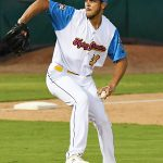 James Reeves pitching for the San Antonio Missions against Frisco on May 20, 2021, at Wolff Stadium. - photo by Joe Alexander