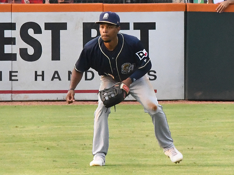 Jose Azocar playing outfield for the San Antonio Missions in the 2021 season opener on May 4 in Corpus Christi. - photo by Joe Alexander