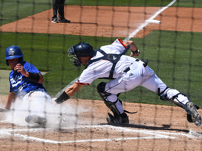 UTSA catcher Josh Kileen tags a Middle Tennessee base runner at the plate on April 10, 2021, at Roadrunner Field. - photo by Joe Alexander