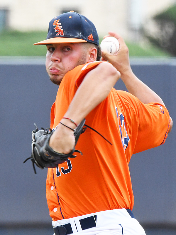 UTSA's Kyle Sonduck pitching against Old Dominion on May 9, 2021, at Roadrunner Field. - photo by Joe Alexander