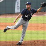 Reiss Knehr pitching in the San Antonio Missions' 2021 season opener in Corpus Christi. - photo by Joe Alexander
