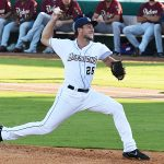 Reiss Knehr pitching for the San Antonio Missions against Frisco on May 21, 2021 at Wolff Stadium. - photo by Joe Alexander