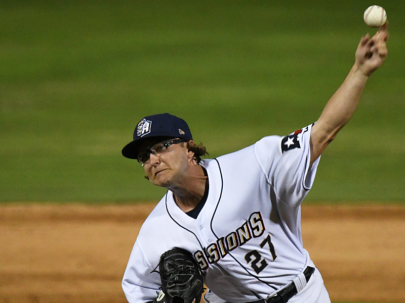 San Antonio Missions reliever Sam Williams pitching against the Frisco RoughRiders on Tuesday, May 18, 2021, at Wolff Stadium. - photo by Joe Alexander