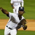 San Antonio Missions reliever Henry Henry pitching against the Frisco RoughRiders on Tuesday, May 18, 2021, at Wolff Stadium. - photo by Joe Alexander