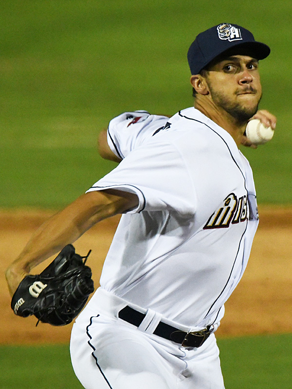 San Antonio Missions reliever James Reeves pitching against the Frisco RoughRiders on Tuesday, May 18, 2021, at Wolff Stadium. - photo by Joe Alexander