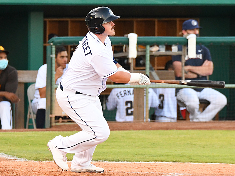 The San Antonio Missions' Kyle Overstreet hits a leadoff double in the fourth inning against the Frisco RoughRiders on Friday at Wolff Stadium. - photo by Joe Alexander