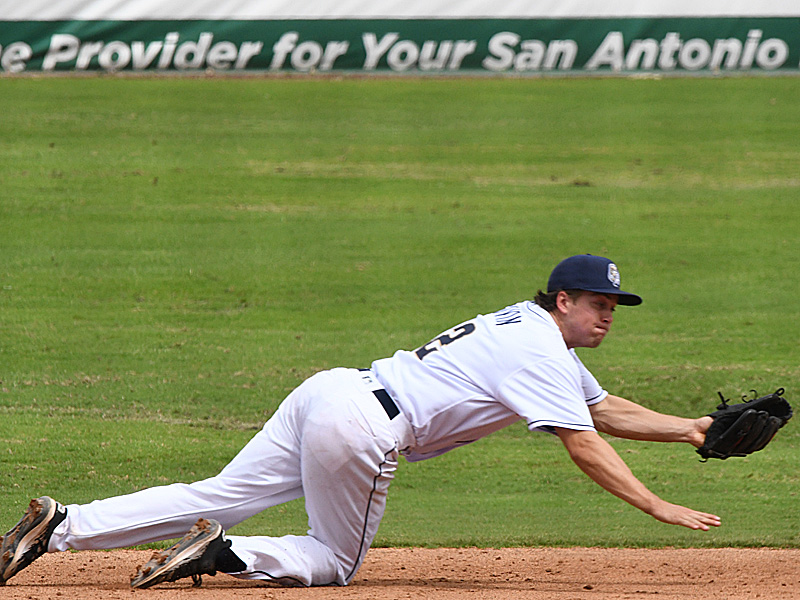 San Antonio Missions shortstop Chris Givin snares a low line drive against the Frisco RoughRiders on Sunday at Wolff Stadium. - photo by Joe Alexander