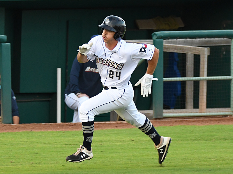 Michael Curry heads for home with the Missions' first run in the bottom of the second inning Wednesday at Wolff Stadium. - photo by Joe Alexander
