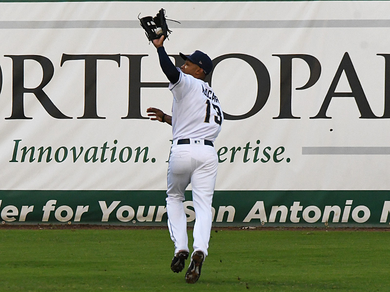 San Antonio Missions center fielder Jose Azocar tracks down a long fly ball against the Frisco RoughRiders on Saturday at Wolff Stadium. - photo by Joe Alexander