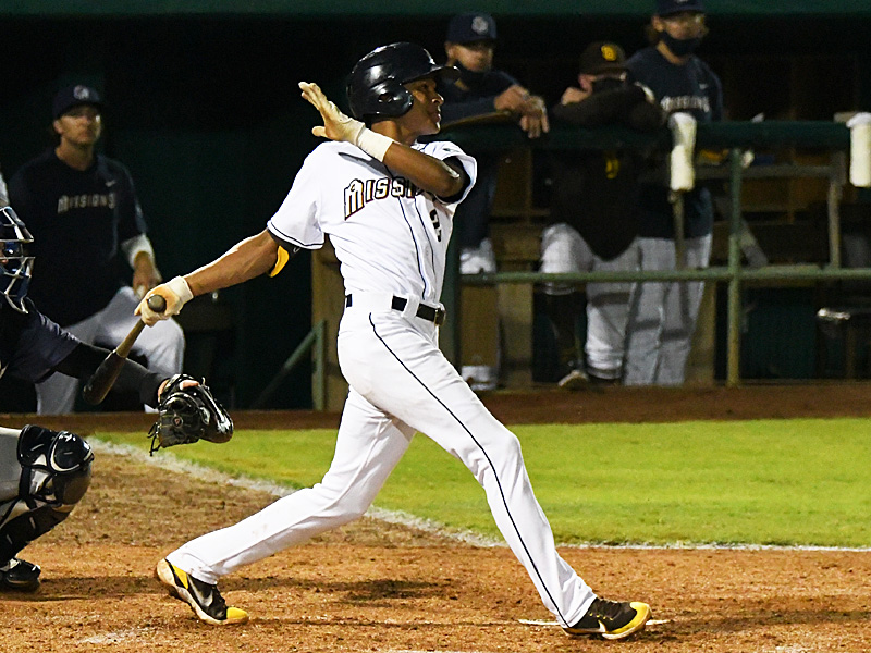 The San Antonio Missions' CJ Abrams hits a ground ball in the fifth inning of Saturday's loss to the Frisco RoughRiders at Wolff Stadium. Abrams was limping after running to first and left the game. - photo by Joe Alexander