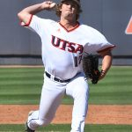 UTSA's Shane Anderson pitching against Old Dominion on May 7, 2021, at Roadrunner Field. - photo by Joe Alexander