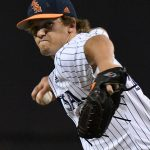 UTSA's Shane Anderson pitching against Rice on April 23, 2021, at Roadrunner Field. - photo by Joe Alexander
