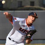 UTSA's Simon Miller pitching against UT Arlington on March 7, 2021, at Roadrunner Field. - photo by Joe Alexander