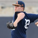 UTSA's Simon Miller pitching against Southern Miss on April 2, 2021, at Roadrunner Field. - photo by Joe Alexander