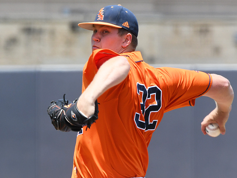 UTSA's Simon Miller pitching against Old Dominion on May 8, 2021, at Roadrunner Field. - photo by Joe Alexander