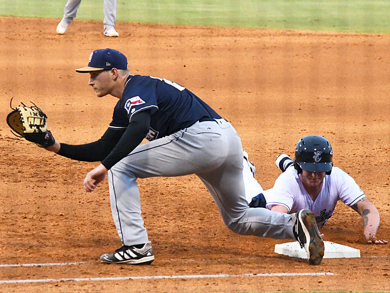 Taylor Kohlwey playing for the San Antonio Missions on 2021 opening day in Corpus Christi. - photo by Joe Alexander