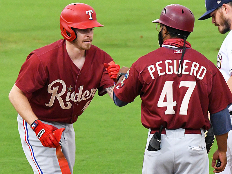 Brock Holt of the Texas Rangers playing for the Frisco RoughRiders as part of his rehab assignment on May 18, 2021, at Wolff Stadium. - photo by Joe Alexander