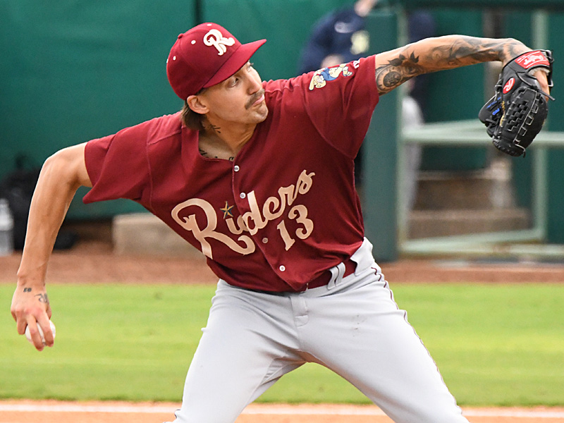 Texas Rangers prospect Hans Crouse pitching for the Frisco RoughRiders against the San Antonio Missions at Wolff Stadium on May 18, 2021. - photo by Joe Alexander