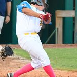 Ryan Flores, designated hitter, Flying Chanclas de San Antonio, Carroll, Incarnate Word. The Flying Chanclas de San Antonio played the Brazos Valley Bombers in a Texas Collegiate League game on Tuesday, June 22, 2021, at Wolff Stadium. - photo by Joe Alexander