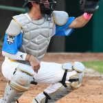 Jonathan LaCourse, catcher, Flying Chanclas de San Antonio, Warren, West Texas A&M. The Flying Chanclas de San Antonio played the Brazos Valley Bombers in a Texas Collegiate League game on Tuesday, June 22, 2021, at Wolff Stadium. - photo by Joe Alexander