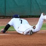San Antonio Missions third baseman Allen Cordoba makes a play on a hard ground ball down the third base line in his season debut on Saturday, June 12, 2021, at Wolff Stadium. - photo by Joe Alexander