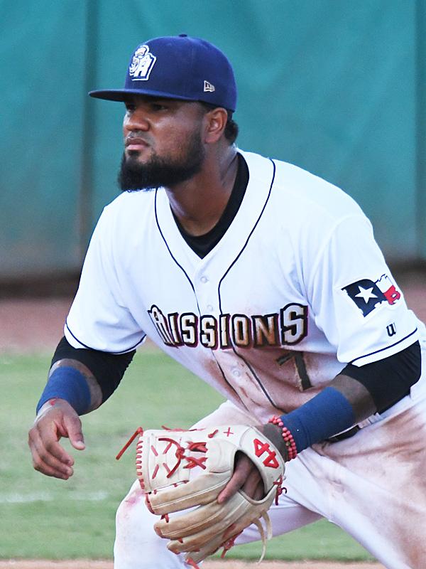 San Antonio Missions third baseman Allen Cordoba playing in his season debut on Saturday, June 12, 2021, at Wolff Stadium. - photo by Joe Alexander