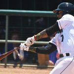 San Antonio Missions third baseman Allen Cordoba with his first hit of the season in his second game of the season on Sunday, June 13, 2021, at Wolff Stadium. - photo by Joe Alexander