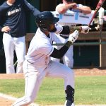 San Antonio Missions third baseman Allen Cordoba with his second hit of the game in his second game of the season on Sunday, June 13, 2021, at Wolff Stadium. - photo by Joe Alexander