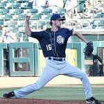 Caleb Boushley pitching for the San Antonio Missions on the road in Corpus Christi on May 6, 2021. - photo by Joe Alexander
