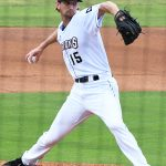 Caleb Boushley pitching for the San Antonio Missions against the Frisco RoughRiders on May 23, 2021, at Wolff Stadium. - photo by Joe Alexander
