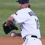 Caleb Boushley pitching for the San Antonio Missions against the Northwest Arkansas Naturals on June 16, 2021, at Wolff Stadium. - photo by Joe Alexander