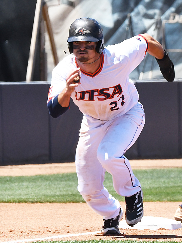 Dylan Rock playing for UTSA against Rice on April 24, 2021, at Roadrunner Field. - photo by Joe Alexander