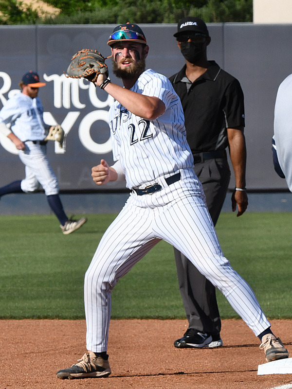 Griffin Paxton playing for UTSA against Old Dominion on May 7, 2021, at Roadrunner Field. - photo by Joe Alexander