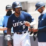 Ian Bailey playing for UTSA against Rice on April 25, 2021, at Roadrunner Field. - photo by Joe Alexander