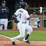 Jose Azocar of the San Antonio Missions playing against the Frisco RoughRiders on May 19, 2021, at Wolff Stadium. - photo by Joe Alexander