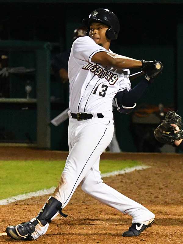 Jose Azocar of the San Antonio Missions playing against the Frisco RoughRiders on May 22, 2021, at Wolff Stadium. - photo by Joe Alexander