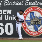Jose Azocar of the San Antonio Missions playing against the Midland RockHounds on June 8, 2021, at Wolff Stadium. - photo by Joe Alexander