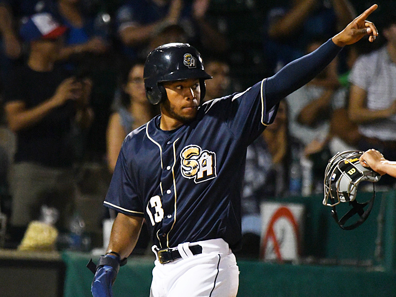 Jose Azocar of the San Antonio Missions points to a teammate after scoring against the Midland RockHounds on June 11, 2021, at Wolff Stadium. - photo by Joe Alexander