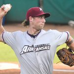 Alec Marsh of the Northwest Arkansas Naturals pitching against the San Antonio Missions at Wolff Stadium on Tuesday, June 15, 2021. He is one of the Kansas City Royals' top prospects. - photo by Joe Alexander