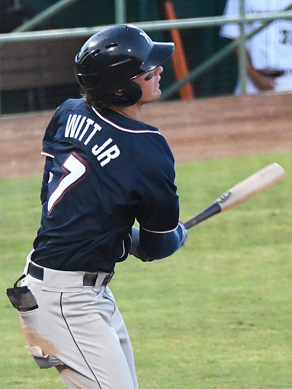 Bobby Witt Jr. watches his home run sail out at Wolff Stadium on Wednesday, June 16, 2021. He is a shortstop for the Northwest Arkansas Naturals and one of the Kansas City Royals' top prospects. - photo by Joe Alexander