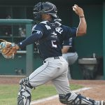 MJ Melendez of the Northwest Arkansas Naturals playing against the San Antonio Missions at Wolff Stadium on Wednesday, June 16, 2021. He is a catcher and one of the Kansas City Royals' top prospects. - photo by Joe Alexander