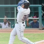 Nick Pratto of the Northwest Arkansas Naturals playing against the San Antonio Missions at Wolff Stadium on Tuesday, June 15, 2021. He is a first baseman and one of the Kansas City Royals' top prospects. - photo by Joe Alexander
