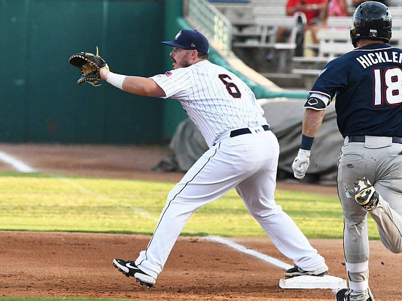 Kyle Overstreet playing first base for the San Antonio Missions against the Northwest Arkansas Naturals on Saturday, June 19, 2021, at Wolff Stadium. - photo by Joe Alexander
