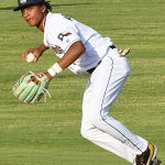 San Antonio Missions shortstop CJ Abrams turns a ground ball into an out. The Missions beat the Midland RockHounds 4-2 Tuesday night at Wolff Stadium. - photo by Joe Alexander